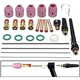 Rokoo 26 Unids / set Tig Welding Torch Boquilla Boquilla Tungsten Gas Lens WL20 Kit para