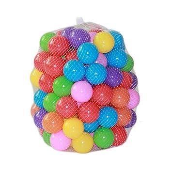 ZZM 100 Bolas de Colores Plástico Pelotas Multicolores del Océano respetuoso del medio ambiente de colores de plástico (A): Amazon.es: Juguetes y juegos