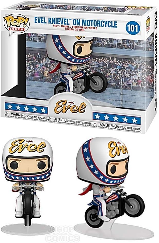 Evil Knievel on Motorcycle Pop Rides #101 Pop Icons Vinyl Figure Includes Ecotek Pop Box Protector Case