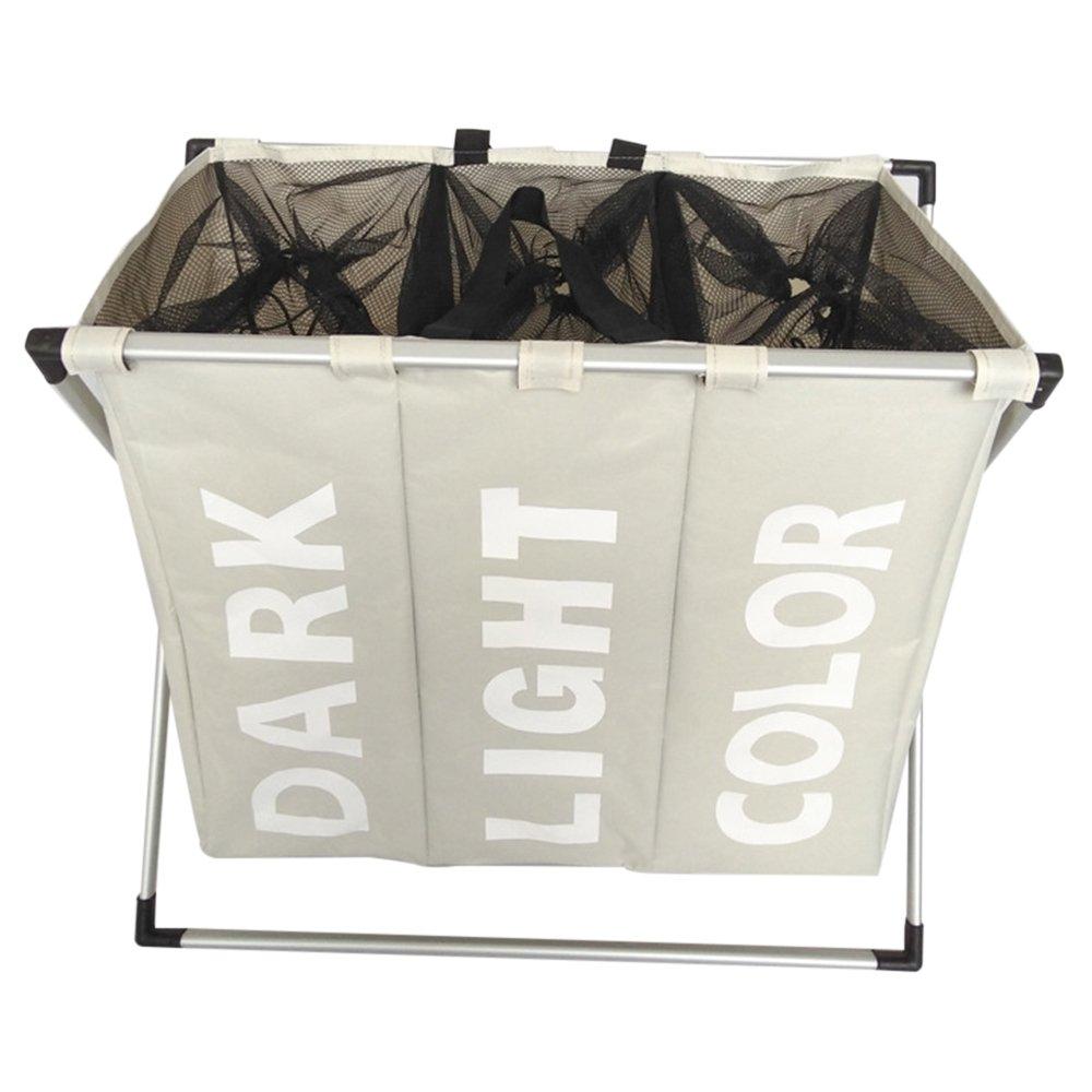3 Section Folding Laundry Sorter Hamper Organizer Washing Clothes Basket (cream)