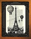 hot air balloon paris - Eiffel Tower Hot Air Balloons artwork Paris poster black white France decor on dictionary page antique french wall art print, Parisian skyline decorations