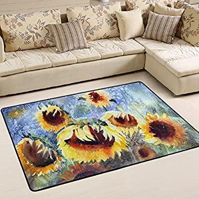 WOOR Watercolor Painting Of Sunflowers Living Area Rugs for Living Room Bedroom Dining Office 6 x 4 Feet Modern Floor Mat Home Decor