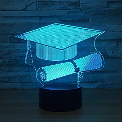 3D Illusion Night Light 7 couleur Led Vision switch doctor cap ...