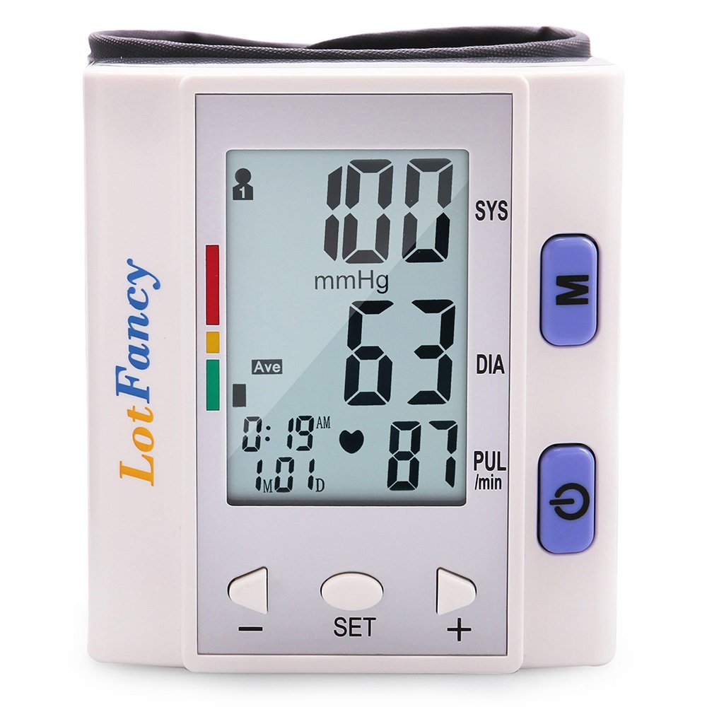 Wrist Blood Pressure Cuff Monitor by LotFancy, Digital Sphygmomanometer with Case, 4 User, FDA Approved