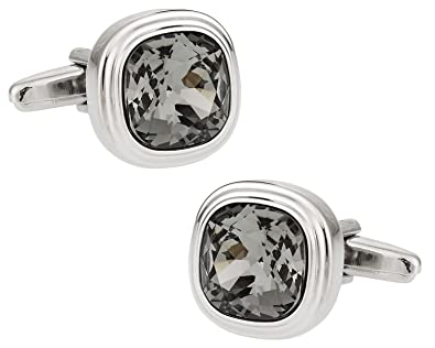fed8b109cf Image Unavailable. Image not available for. Color: Cuff-Daddy Swarovski  Black Diamond Crystal Cufflinkswith Presentation Box