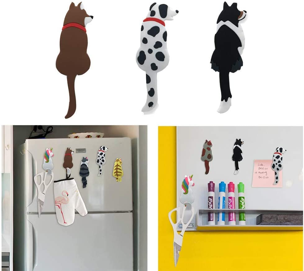 (3 PCS) ONV Refrigerator Magnets Stickers Fridge Magnetic Stickers Cute Cat Unicorn Stickers+hook for Cabinets Notes Calendar Map Bulletin Board Photo-3 Dogs