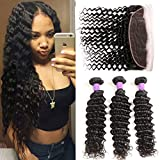 Miss Flower 8A Grade Peruvian Virgin Hair Deep Wave Bundles with Frontal Deep Curly Lace Frontal Closure with Bundles Deep Wave Peruvian Hair with Frontal (18 20 22+16frontal, Natural Color)