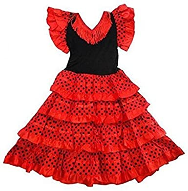 Robe danse flamenco traditionnelle a pois fille rouge Noir (10)
