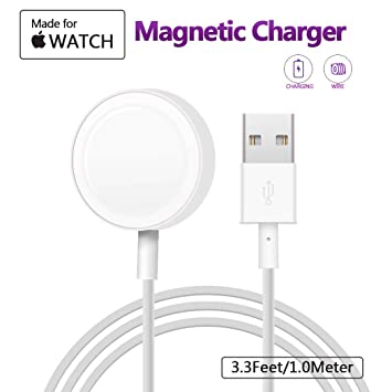 Charger para Apple Watch , MASOMRUM cargador inalámbrico portátil de 1 m para iWatch con cargador magnético certificado MFI para Apple Watch Series ...