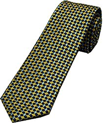 Zarrano Skinny Tie 100% Silk Woven Taupe/Blue Geometric Tie