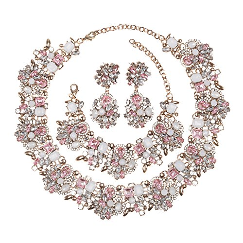 Multi Pink Rhinestone Party Collar - Holylove Light Pink Retro Style Statement Necklace Bracelet Earrings for Women Novelty Jewelry Set 1 with Gift Box-Light Pink 3pcs