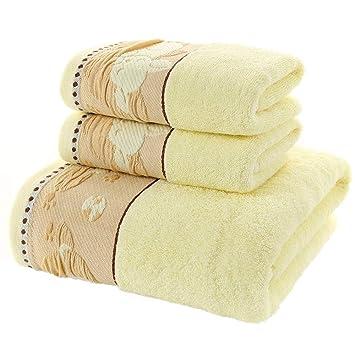 LOF-fei Juego de 3 Toallas 100% algodón (2) Toallas de Mano
