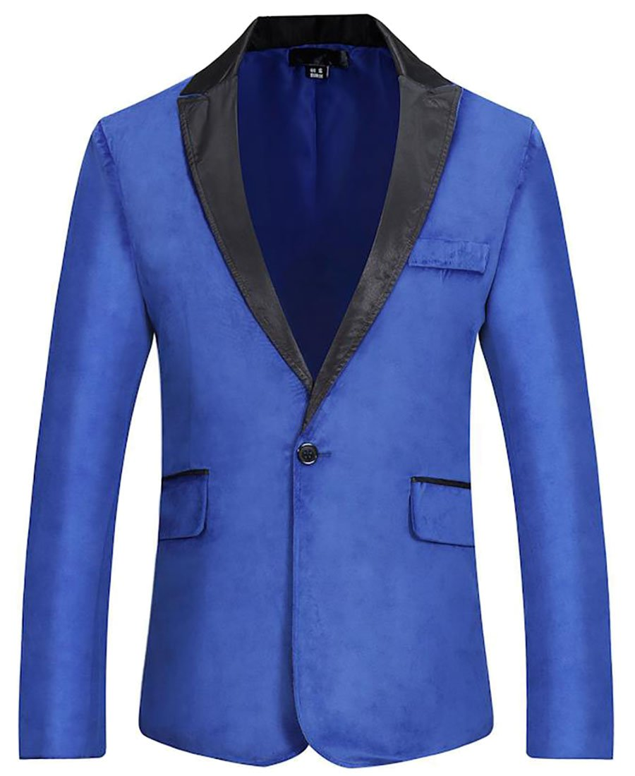 Cruiize Men's Stylish One Button Lapel Blazer Jacket Suits Jackets Jewelry Blue S