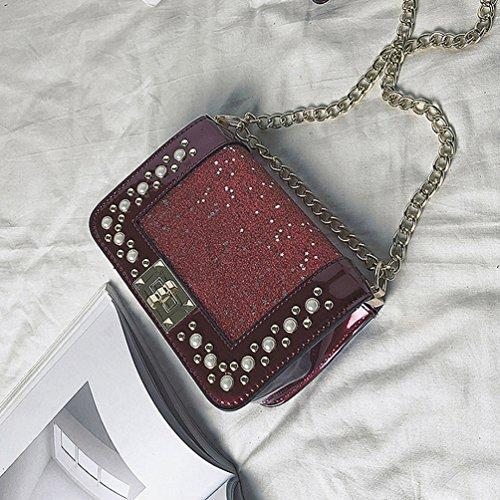 Soirée Chaîne De Crossbody Sac Classique Rouge à Paillettes Femmes Mode Sac Sac YouPuer Bandoulière wqHSR71