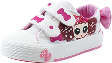 Toddler//Little Kid//Big Kid iDuoDuo Girls Cute Cartoon Rhinestones Slip On Dress Canvas Shoes Loafers