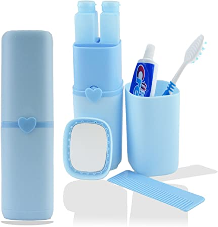 Estuche de viaje de silicona para cepillos y pasta de dientes, además de espejo y peine, plástico, azul, 8inch x 2.17inch: Amazon.es: Hogar