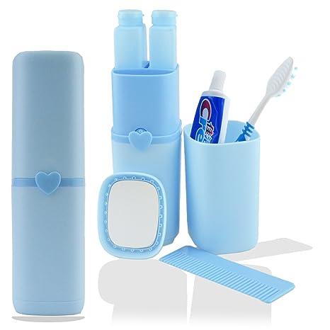 Estuche de viaje de silicona para cepillos y pasta de dientes, además de