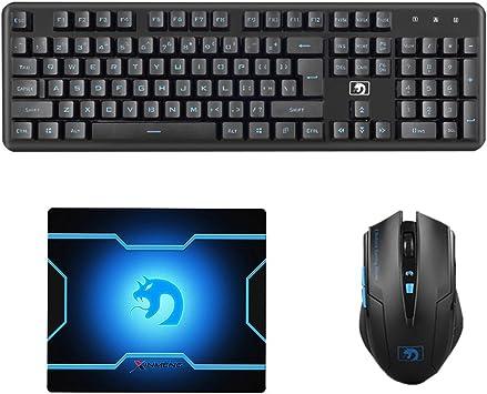 LexonElec® Juego de ratón inalámbrico para teclado Combo M398 2,4 GHz 104 teclas USB ergonómico Multimedia Gaming Teclado + inalámbrico 1600DPI Ajuste ...