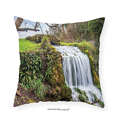 VROSELV Custom Cotton Linen PillowcaseWaterfall Forest Art Prints Scenery for Living Room and Bedroom Girls Dorm Room Accessories Home Decor with One of a Kind Machine Washable Silky Satin G 22