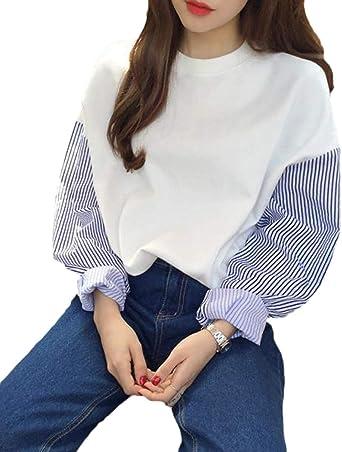 Mujer Camisas Manga Larga Cuello Top Flecos Redondo Otono S Ropa Festiva Moda Joven Retro Primavera Otono Tallas Grandes Color Blanco Size S Amazon Es Ropa Y Accesorios