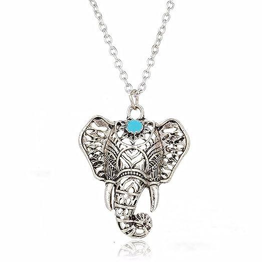 Amazon elephant head pendant necklace turquoise stone bohemian elephant head pendant necklace turquoise stone bohemian style adjustable chain 20 22 aloadofball Images