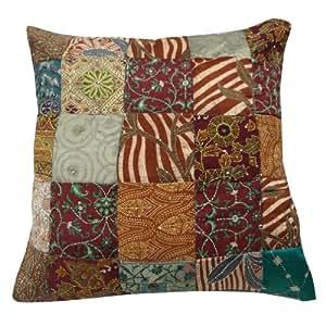 "Indian Seda Cojín Case Patchwork Vintage Blend Kantha Multicolor Pillow pulgadas Cubierta Decoración del hogar 23 de regalo """