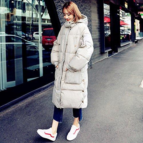 Capuche L Confortable Chaud Coupe Air Hiver Taille Light Grey Longues Lâche Sections Grey Épais Femmes vent couleur Manteau Zen 8t4TI8