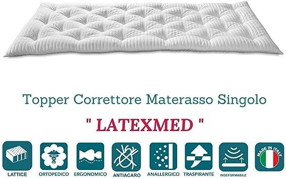 EvergreenWeb – Colchoncillo de Espuma de látex Corrector Colchón Topper para Cama 80 x 190 h 7, futón Enrollable, Sobrecolchón con con Funda Suave Color Blanco - Latex Med: Amazon.es: Hogar