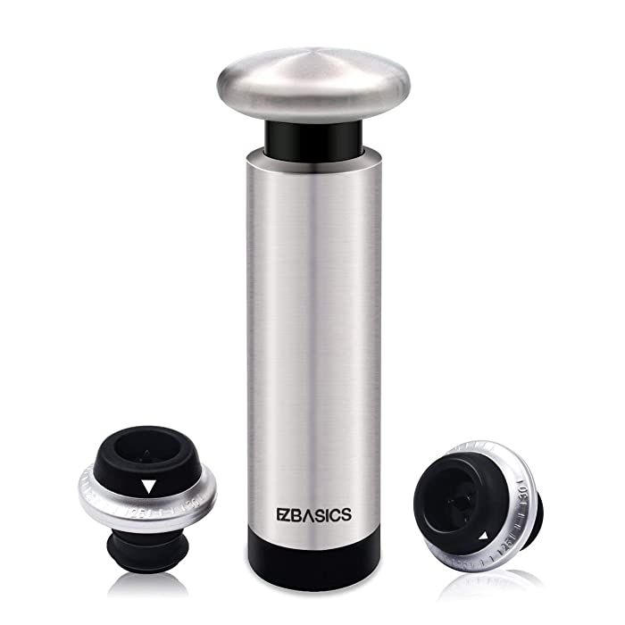 EZBASICS Wine Saver Vacuum Pump with 2 Wine Stoppers, Stainless Steel