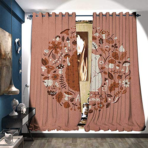 Room Darkening Wide Curtains Autumn Theme Animal Image with Many Season Elements Pine Cone Leaves Soft Colors Decorative Curtains for Living Room W84 x L108 Coral ()