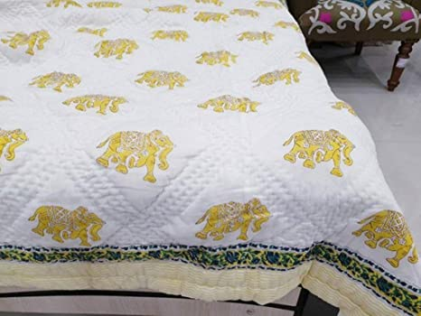 Queen Size Cotton Kantha Quilt Reversible Blanket Throw Block Print Bed Sheet