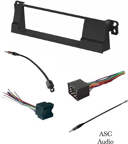 ASC - Kit de instalación estéreo de coche, arnés de cable y adaptador de antena para instalar una radio de mercado de accesorios DIN para 1999 2000 ...