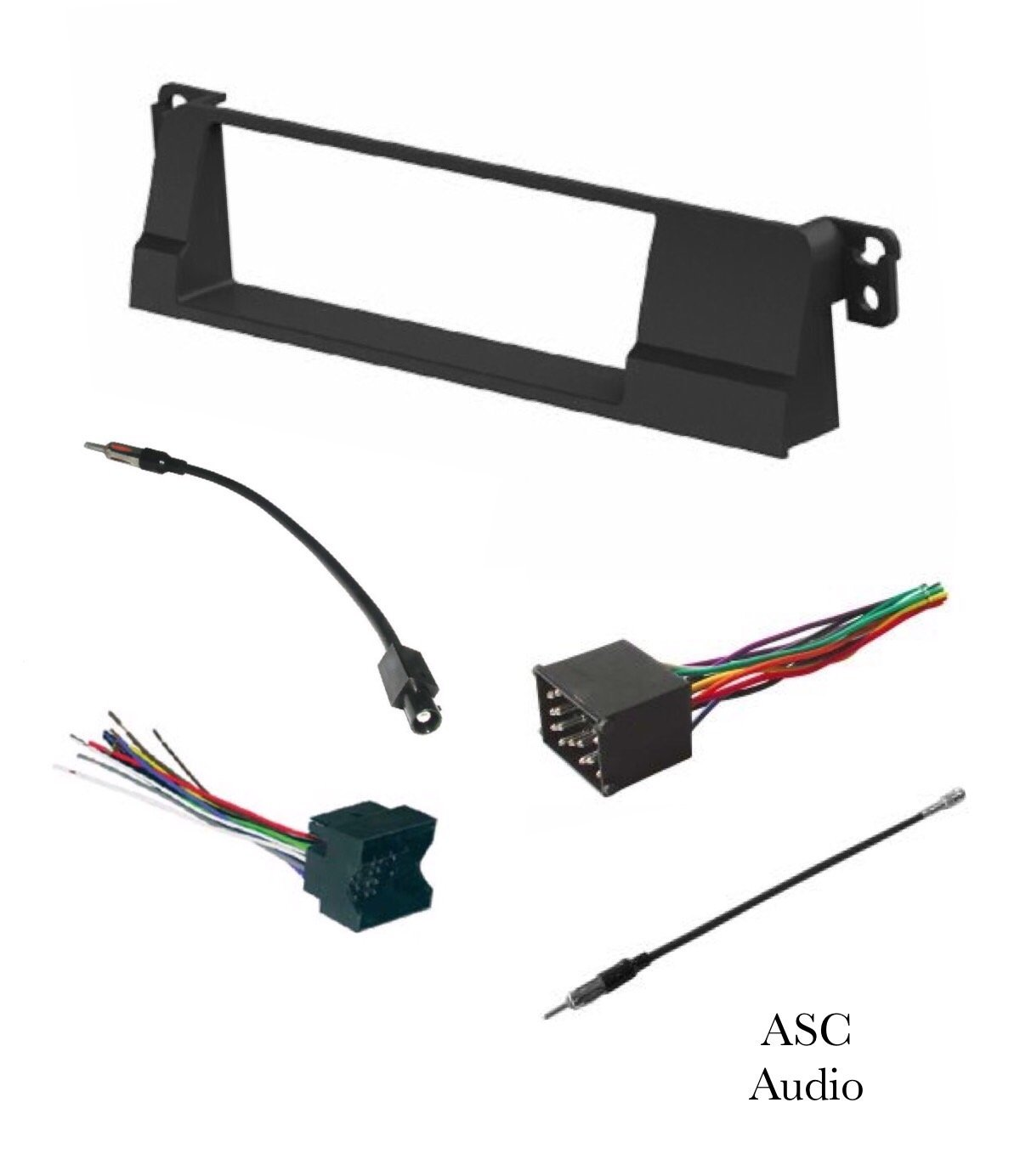 ASC Car Stereo Install Dash Kit, Wire Harness, and Antenna Adapter for installing a Single Din Aftermarket Radio for 1999 2000 2001 2002 2003 2004 2005 BMW E46 318 323 325 328 330 by ASC Audio