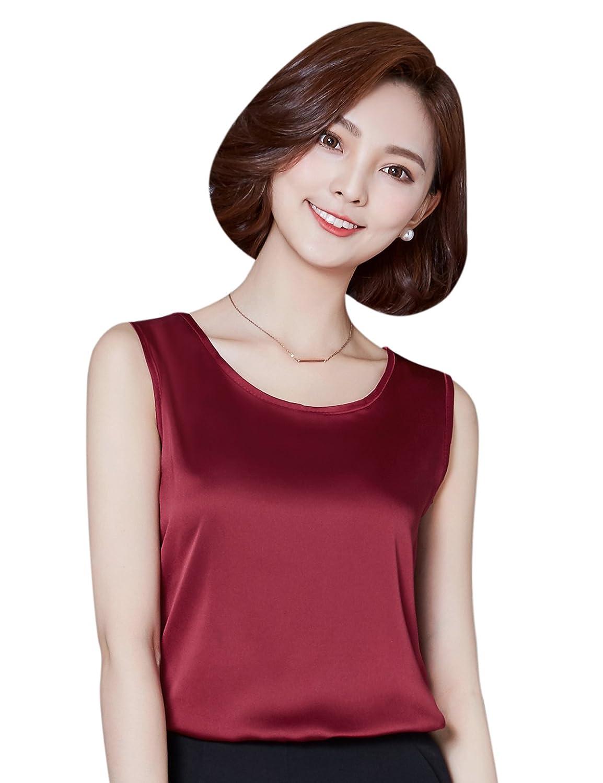 Alizeal Women's Summer Imitation Silk Sleeveless Vest Top