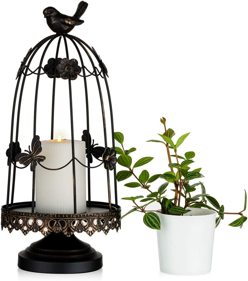 Sziqiqi Decorative Bird Cage Candleholder for Antique Decor, Fit for Flowers Planter Candles Garland Cupcake Display for Wedding Centerpiece Holiday Decoration, Distressed Black 38cm/15 inch