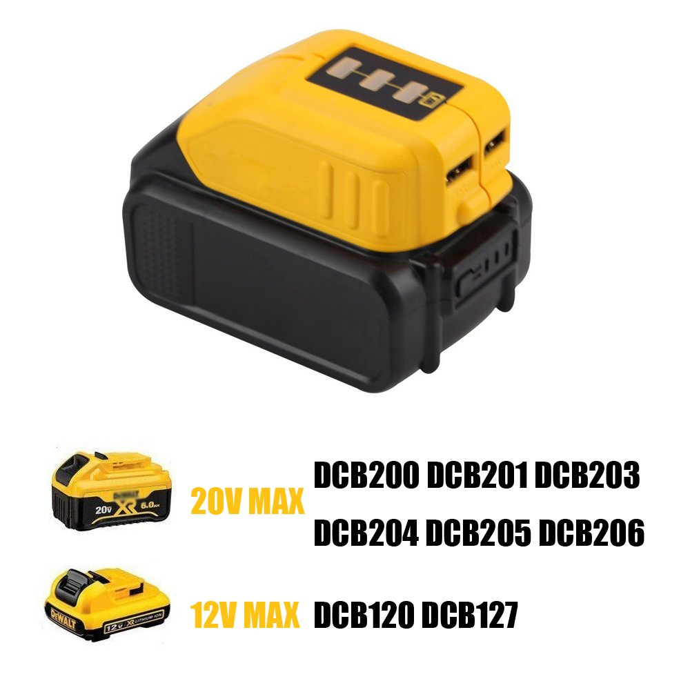 12V/20V Max Power Source for Dewalt Heated Jacket DCB091 Converters With USB and 12V Outlets Work with Lithium Battery by WEQCTER (Image #1)