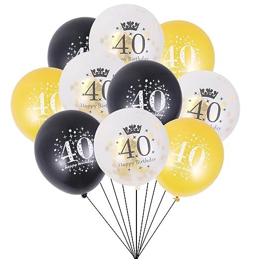 Amosfun - Globos rellenos de confeti para 40 cumpleaños (15 ...
