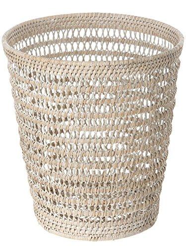 KOUBOO La Jolla Rattan Mesh Round Waste Basket, White Wash (Rattan Mesh)