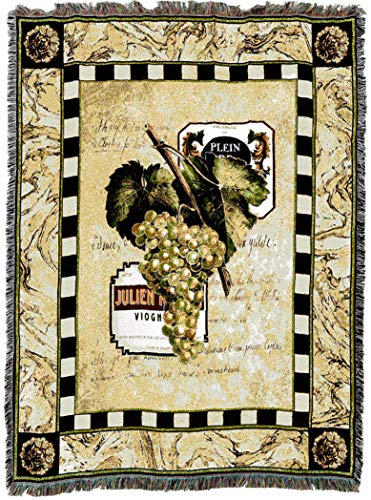 Pure Country Weavers | Grapes and Label Wine I Woven Tapestry Throw Blanket with Fringe Cotton USA 72x54