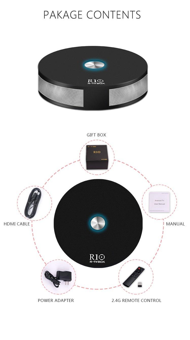 R-TV BOX Rockchip 3328 R10 4G RAM 32G ROM Quad-core 64-Bit Android 7.1.2 USB 3.0 4K UHD Dual WiFi AC 2T2R BT4.1 TV Box Media System
