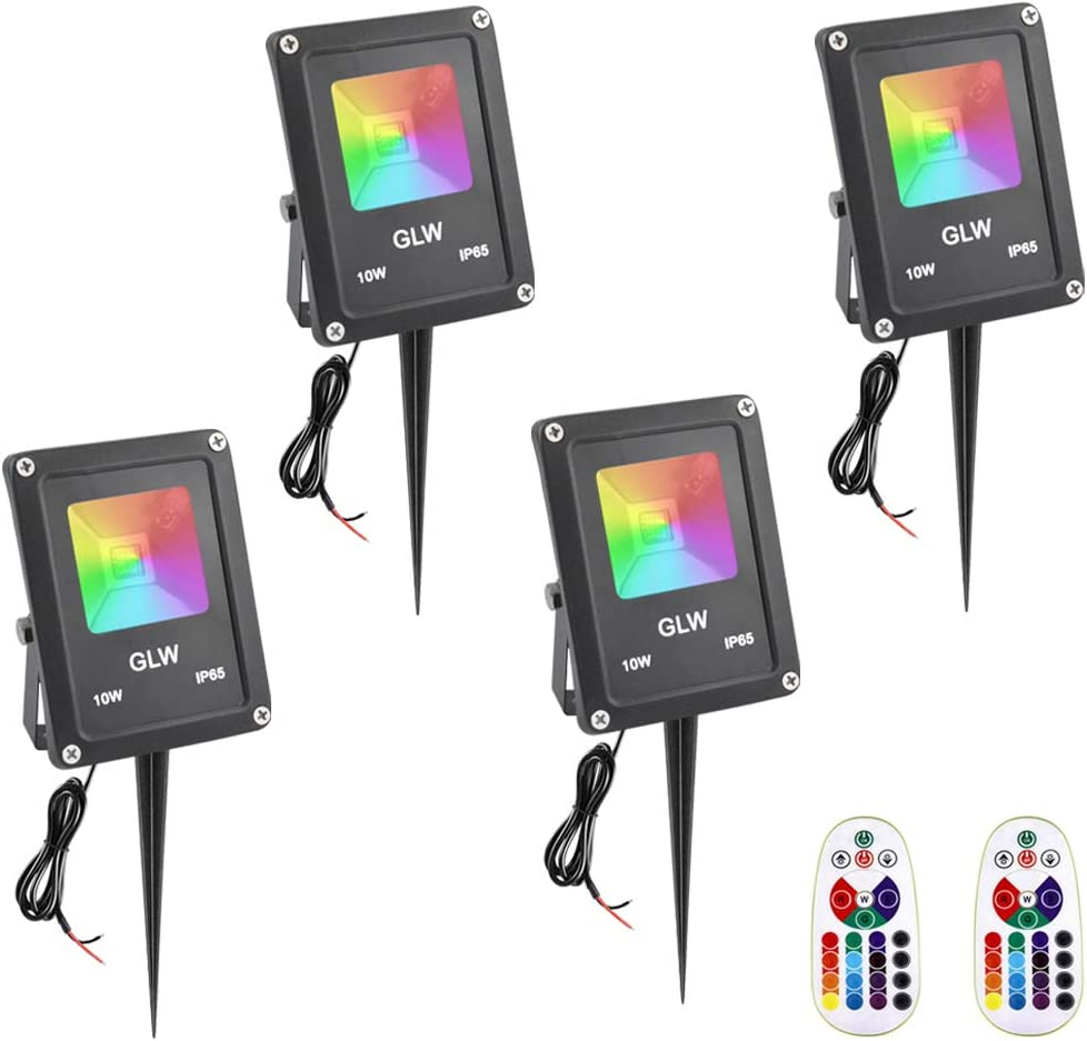 GLW RGB Landscape Lights 10W Color Changing Flood Light with Remote Control IP65 Waterproof 16 Colors Changing 4 Mode 12V Outdoor Spotlight for Garden,Party,Trees and More [4 Pack]