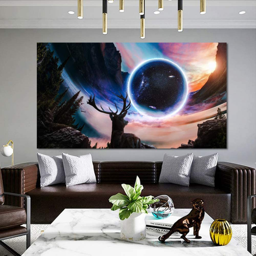tzxdbh Sunset Landscape and Fantasy Starry Sky Painting Posters ...