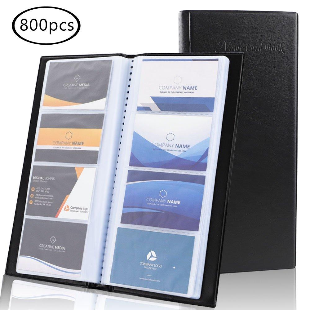 JPSOR 2 Pack Business Card Holder,800-pocket Black Journal Name Card Book Holder, for Office Use