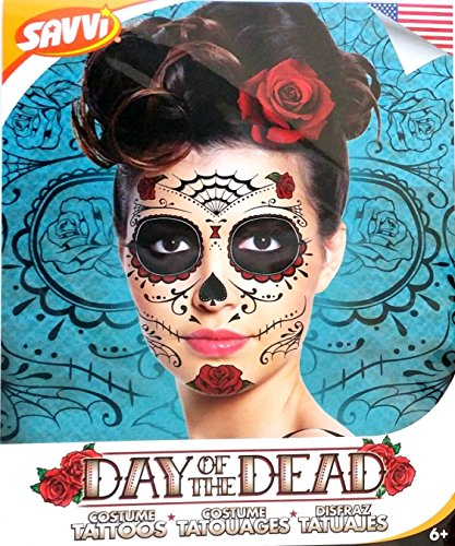 9552c0339 Red Roses Day of the Dead Sugar Skull Temporary Face Tattoo Kit - Pack of 2  Kits - Buy Online in UAE. | Beauty Products in the UAE - See Prices, ...