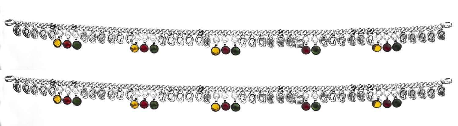 Sterling Anklets with Paisleys (Price Per Pair) - Sterling Silver