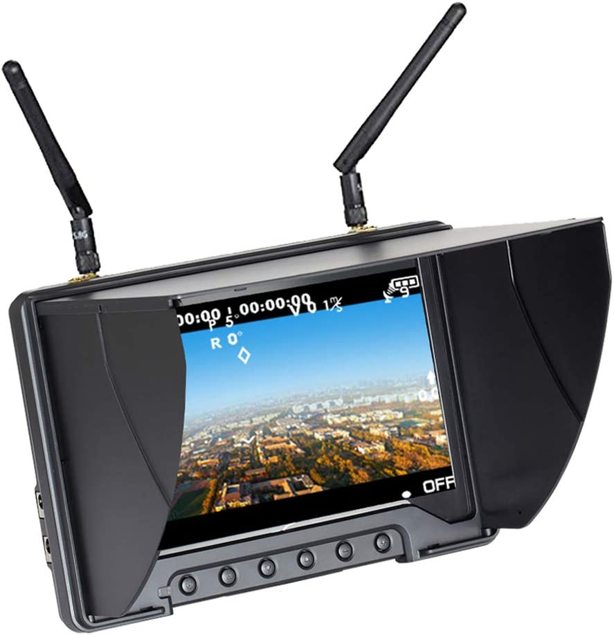 Flysight Black Pearl Diversity Monitor RC801 Monitor FPV con DVR HDMI en 5.8Ghz 40CH 7 Pulgadas FPV Receptor de Pantalla Construido en batería para RC ...