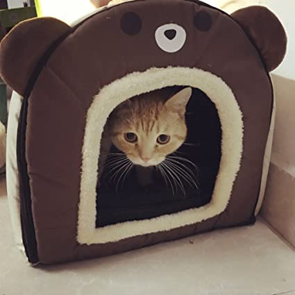 LM921 Casa para gatos perros cama mascota habitacion, 2 en 1 Casa y Sofá Antideslizante