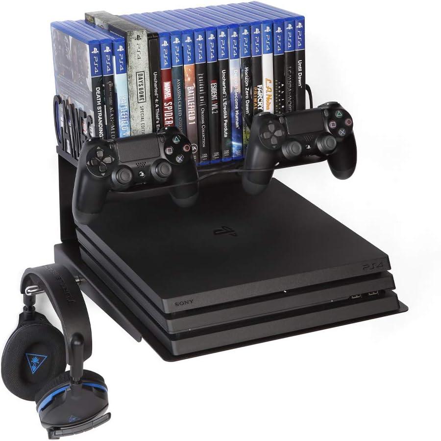 Borangame Soporte de Pared para Playstation 4 Normal / PS4 Pro / PS4 Slim Y Xbox 360 / One/One S/One X - Base Horizontal, Metálico con Ventilador Silencioso y Soporte para Mandos,