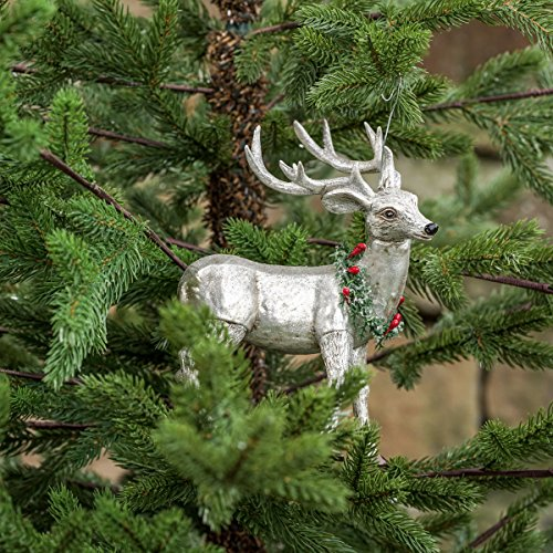 Mercury Glass Standing Deer With Wreath Ornament