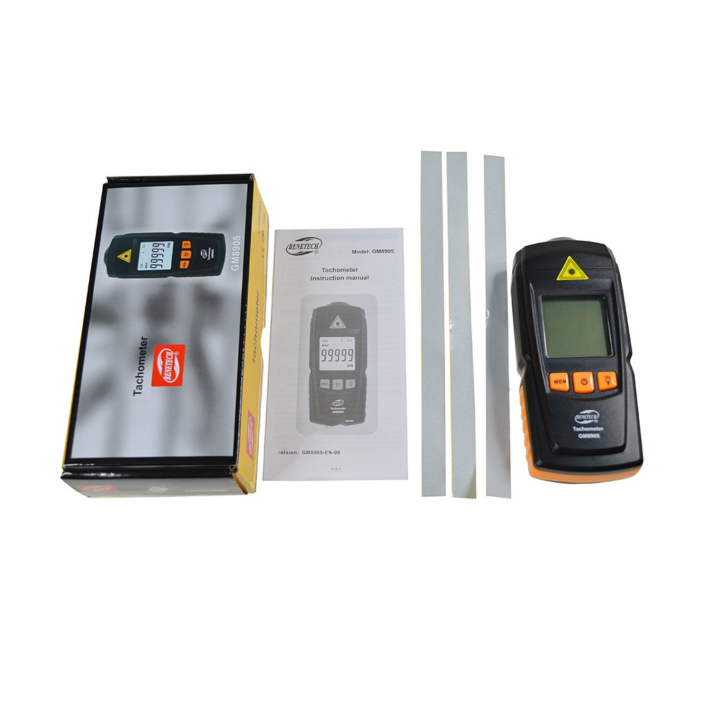 Topker GM8905 Digital LCD Tac/ómetro sin contacto RPM Tach Medidor de prueba Motor Medidor de velocidad Tester